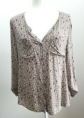 Old Navy Taupe Semi Sheer Rayon Roll Sleeve Top Blouse Size M Geo Print