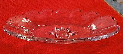Vintage Heavy Clear Glass Long Oval Celery Olive Pickle Dish Heavy Bowl