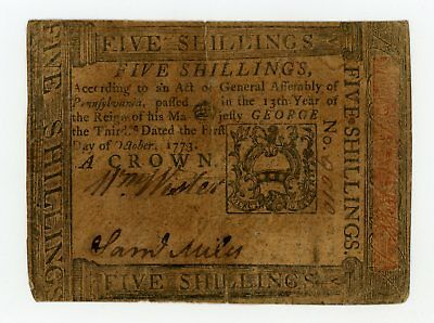 (PA-166) October 1st, 1773 5 Shillings PENNSYLVANIA Colonial Currency Note