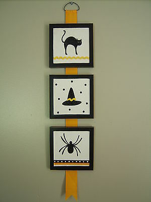 Halloween Theme Triple Wood Framed Wall Hanging Decor - Spider, Cat, Witch's Hat