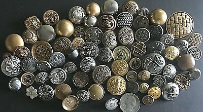Antique Vintage SILVER GOLD METAL buttons ~72 Pc. Variety Crests, Pictures Nice!