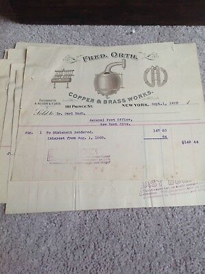 Vintage Lot of 6 Fred Orth Letterhead New York NY Copper Brass Works 1902