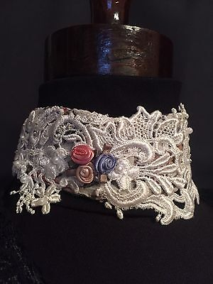 Victorian Civil War Garden Lace Floral Choker Roses Organza Backing #81