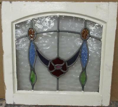 "OLD ENGLISH LEADED STAINED GLASS WINDOW Cute Colorful Archtop Floral 19"" x 18"""