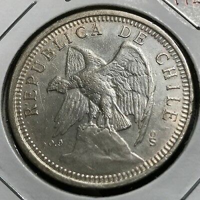 1927 Chile Silver 5 Pesos High Grade Crown Coin