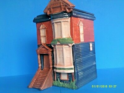 """""""row House Cookie Jar"""" 11+1/2""""h~Ceramic~ By Meagan's Reflections,tn~ Retired~Usa"""