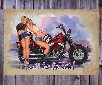 Harley Davidson Motorcycle Pinup Girl 8X10 Photo Man Cave DECOR SIGN