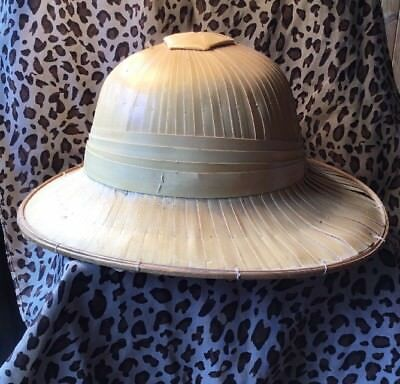 Vintage Collectable Woven Tribal Souvenir Safari Pith Costume Kitsch Helmet hat