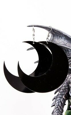 Mega Luna Earrings Black Crescent Moon Witchcraft Gothic Witch Jewellery
