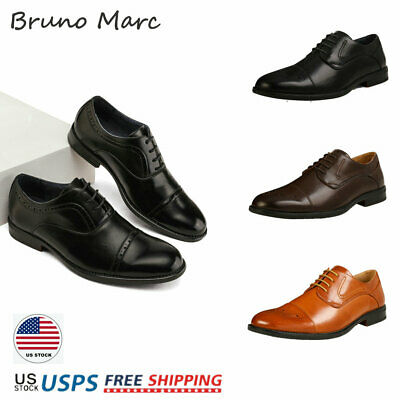Bruno Marc Mens Brogues Leather Lace Up Casual Formal Wedding Dress Oxford Shoes