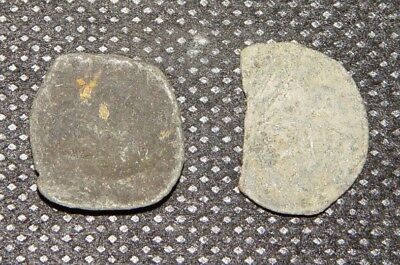 LOT OF 2 BYZANTINE BRONZE SHAPE CUP COINS 13th CENTURY AD Ref.166