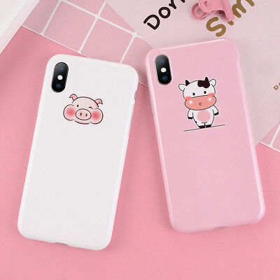 For iPhone X 8 7 6s Plus Cute Cow Pig Pattern Shockproof Soft TPU Case Cover