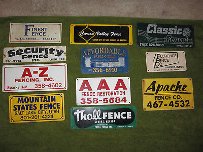 Lot of 11 Fence Advertising Signs, Pacific North West Signs, Metal Signs