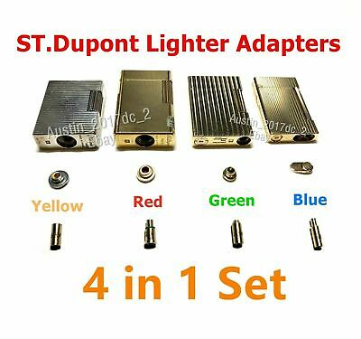 Dupont Lighter Gas Refill Adapters 4 in 1 set Yellow/Red/Green/blue Caps