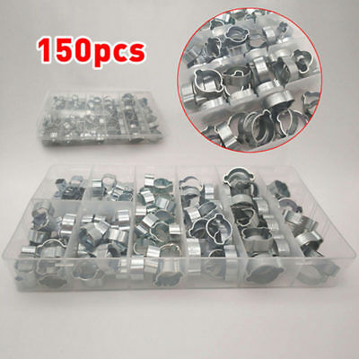 150pcs 5~20mm 8 Sizes Double Ear O Clips Hose Pipe Clamp Assortment Kit with Box