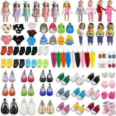 Doll Clothes Pajama Dress Slippers Backpack Accessory f 18inch American Girl Toy