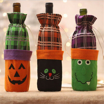 3 PCS Halloween Wine Bottle Bags with Drawstring Cutton Bottle Covers for Party