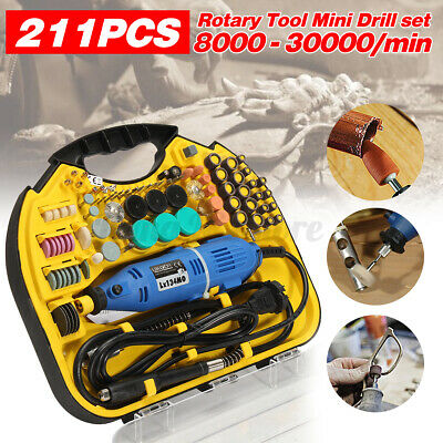 211pcs Dremel Rotary Tool Set Mini Drill Grinder Engraver Sander Polisher Kit -