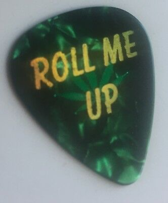 WILLIE NELSON TOUR STAGE USED Guitar Pick - ROLL ME UP POT LEAF 2017 FARM AID