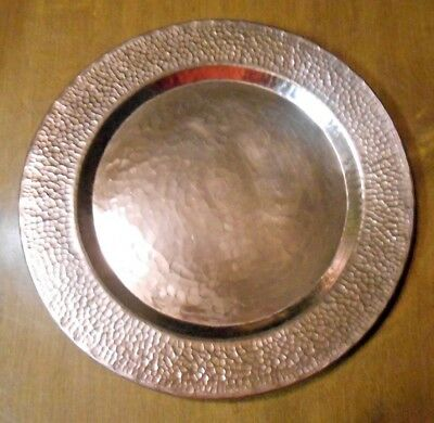 Antique Arts and Crafts Hand Hammered Mission Copper Charger Platter Plate