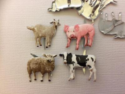 BRADS FARM ANIMALS pk of 8 split pin craft sheep cow pig goat animal