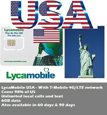 US Travel-Lycamobile US prepaid sim card 30 days 6GB data with Tmobile 4G/LTE