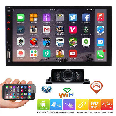 "7"" Android 6.0 4G WiFi Double 2DIN Car Radio Stereo DVD Player GPS+Camera USA"