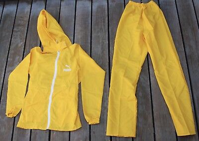 Rare Vintage Puma Nylon Hooded Full Track Suit Tracksuit Jacket Pants Yellow