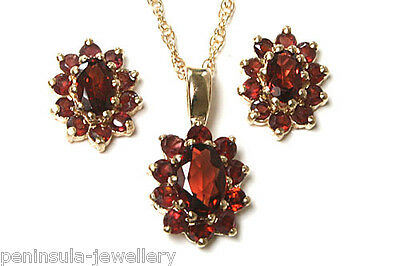 9ct Gold Garnet Pendant necklace and Earring Set Made in UK Gift Boxed