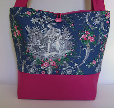 Blue Toile Hot Pink Denim Purse Tote Handbag Retro Style Old World Charm
