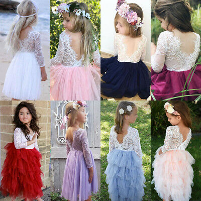 Canis Summer Kids Baby Girls Lace Tulle Backless Party Bridesmaid Pageant Dress