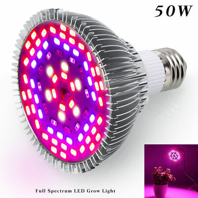 E27 50W LED Grow Light Full Spectrum for Indoor Veg Flower Plant Hydroponics DE