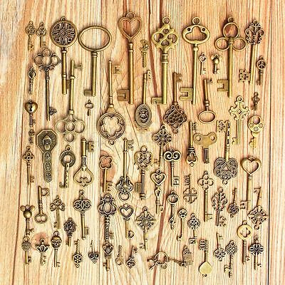 Set of 70 Antique Vintage Old LookBronze Skeleton Keys Fancy Heart Bow Pendant
