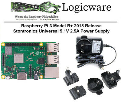 Raspberry Pi 3 Model B+ Plus and the official Universal 5.1V 2.5A Power Supply
