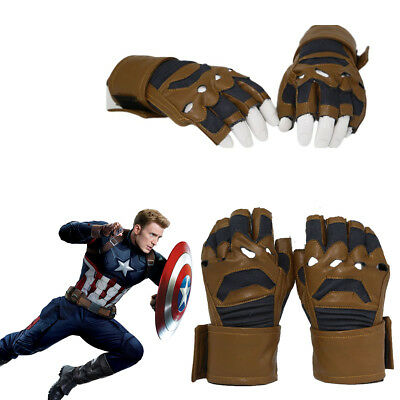 Captain America Cosplay Gloves Mittens Costume Prop Fingerless Accessories Adult