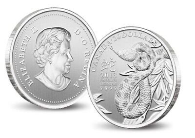 2013 $20 Year of the Snake - 1/4oz fine silver Coin - Royal Canadian Mint