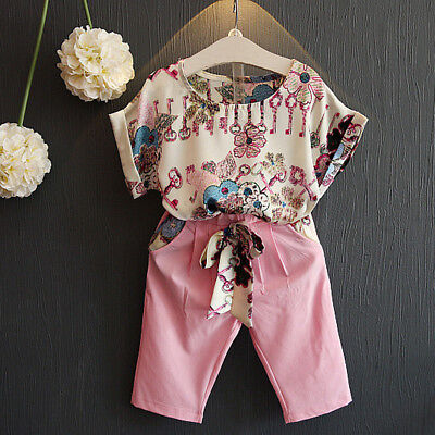 Summer Kids Baby Girl Outfits Clothes Floral T-shirt Tops+Cropped Pants 2PCS Set