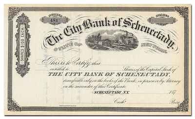 City Bank of Schenectady Stock Certificate (New York, 1870's)