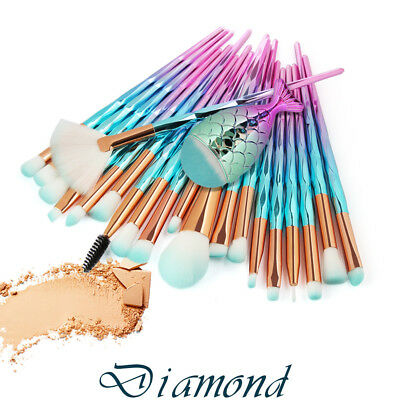 21Pcs Blue Mermaid Pro Makeup Brushes Set Eyebrow Eyeshadow Lip Soft Brush Kit