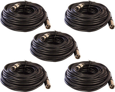 5 Pack Lot 3Pin XLR Male to Female Microphone Mic mike extension Cable 25ft foot