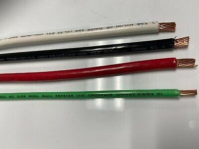 8' Ea Thhn Thwn 6 Awg Gauge Black White Red Copper Wire + 8 10 Awg Green