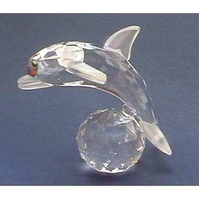 Cut Glass Dolphin on a Ball Ornament - Collectible Figurine Ornament-  Crystal