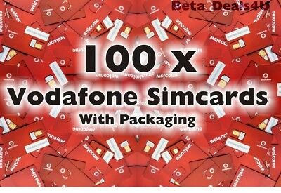 100x VODAFONE PAY AS YOU GO 3G SIM CARD VODAPHONE VODA BULK WHOLESALE JOBLOT