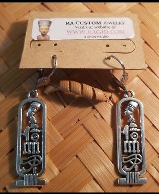 Antique Silver Dangle Pewter Ancient Egyptian Queen nefertiti cartouche earrings