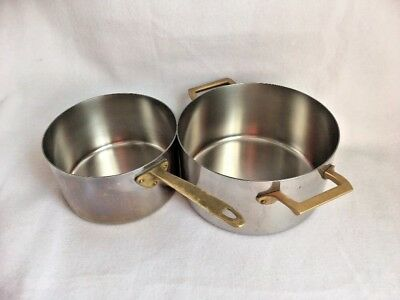 2 Paul Revere Copper Core Limited Edition Stainless Steel Pans Brass 2 3 quart
