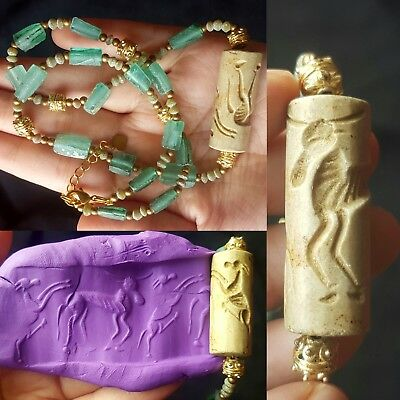 Old roman glass beads necklace with gold plated beads and old seal stamp
