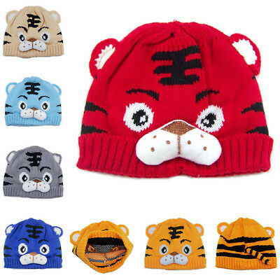 Infant Baby Boy Girl Tiger Cartoon Cap Warm Winter Hats Knitted Wool Hemming Cap