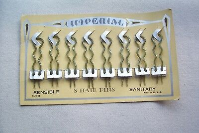 8 RARE Hairpins on old Store Card IMPERIAL Plastic/Celluloid VICTORIAN EDWARDIAN