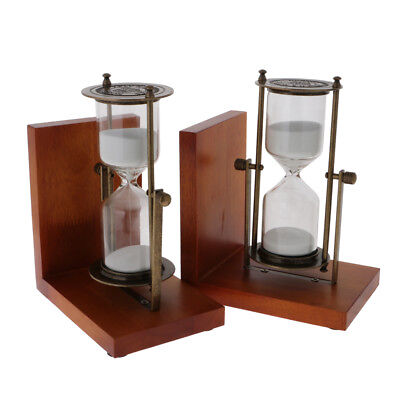 Pair of 30 Mintue Sand Timer Sandglass Bookends for Library Shelf Decor 19cm