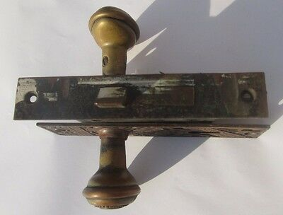 Complete Set Antique Victorian Door Knob Combination W/ Lock & Back Plates # 328